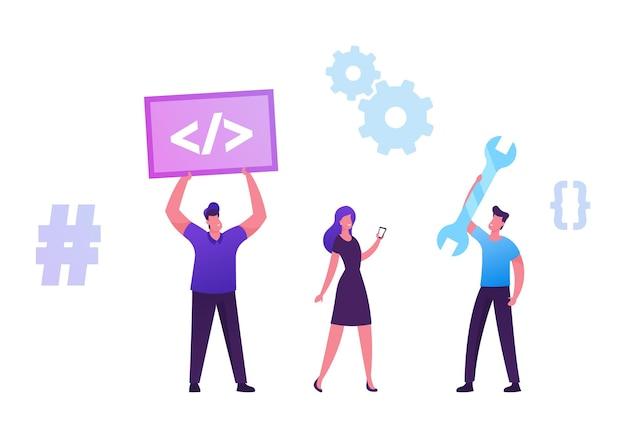 Zespół programistów pracujący na komputerze w witrynie sieci web projekt online kodowanie html w języku java css, ilustracja kreskówka płaska
