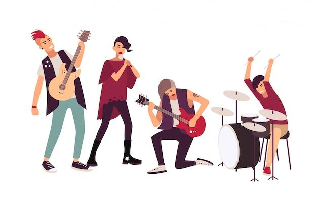 Zespół punk rockowy występujący na scenie. grupa młodych nastoletnich mężczyzn i kobiet z irokezami, śpiewając i grając muzykę podczas koncertu na białym tle