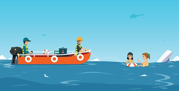 Zespół ratownictwa wodnego pomaga łodzi w wypadku.