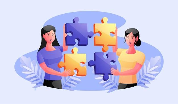 Zespół roboczy łączący elementy układanki, współpraca, koncepcja partnerstwa