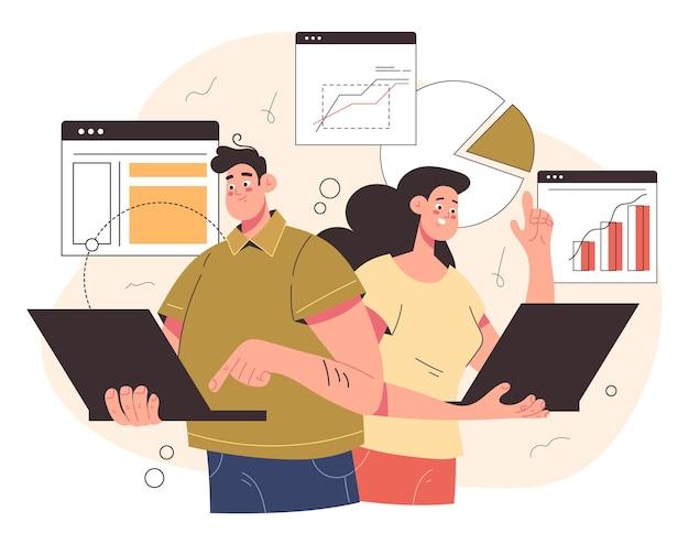 Zespół roboczy mężczyzna kobieta postacie pracujące przy komputerze