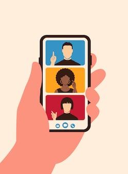 Zespół rozmowy wideo na telefon z ekranem w stylu płaski. koncepcja aplikacji mobilnej wideokonferencji online