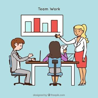 Zespół rysowany ręcznie pracuje razem