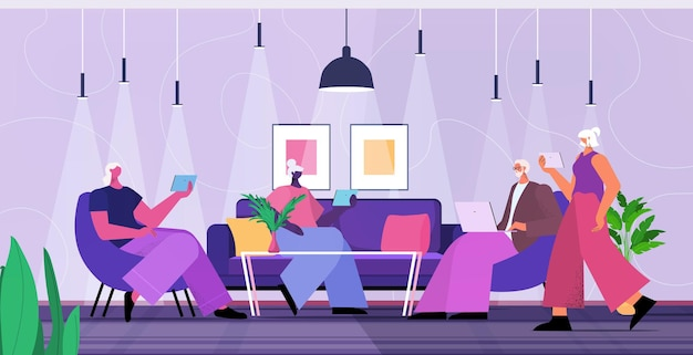 Zespół starszych biznesmenów za pomocą cyfrowych gadżetów ludzie biznesu pracujący w nowoczesnym biurze ilustracji wektorowych poziomej pełnej długości