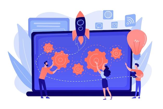 Zespół start-upowy otrzymuje mentoring i szkolenia, aby przyspieszyć rozwój i laptop. akcelerator startupów, akcelerator nasion, koncepcja mentoringu startupów