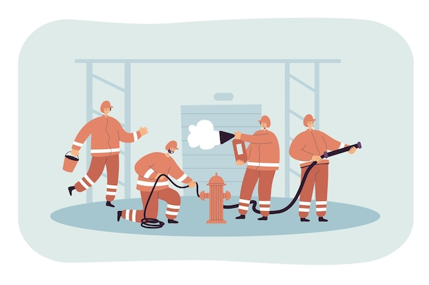 Zespół strażaków walczący z ogniem, ratujący ludzi i budynki. płaska ilustracja.