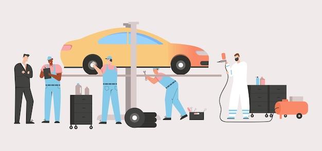 Zespół techników sprawdza pojazd. klient i mechanik samochodowy sporządzają umowę naprawy samochodu, malują aerografem.