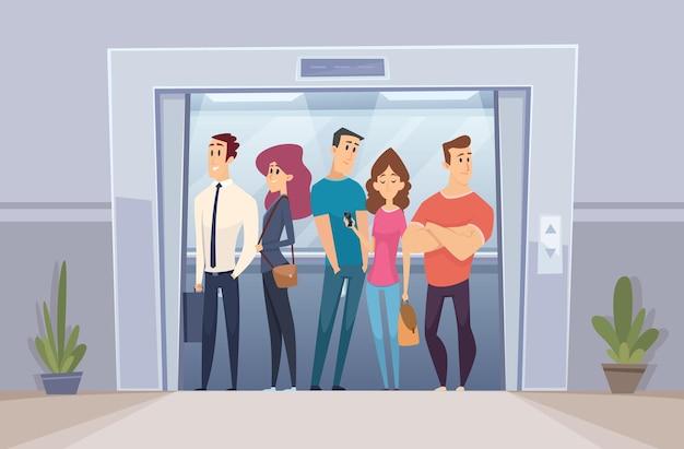 Zespół w windzie. biznesmeni tłumu stojący w windzie jasne biuro drzwi wektor osoba. praca windy biurowej, ilustracja pracownika zespołu biznesowego