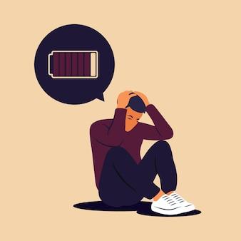 Zespół wypalenia zawodowego. ilustracja zmęczony, sfrustrowany mężczyzna. problemy psychiczne. ilustracja wektorowa w mieszkaniu.
