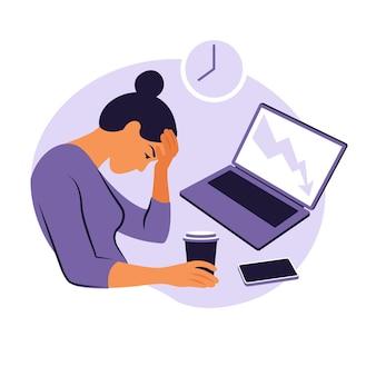 Zespół wypalenia zawodowego. ilustracja zmęczony żeński pracownik biurowy siedzi przy stole. sfrustrowany pracownik, problemy ze zdrowiem psychicznym. ilustracja w stylu płaski.