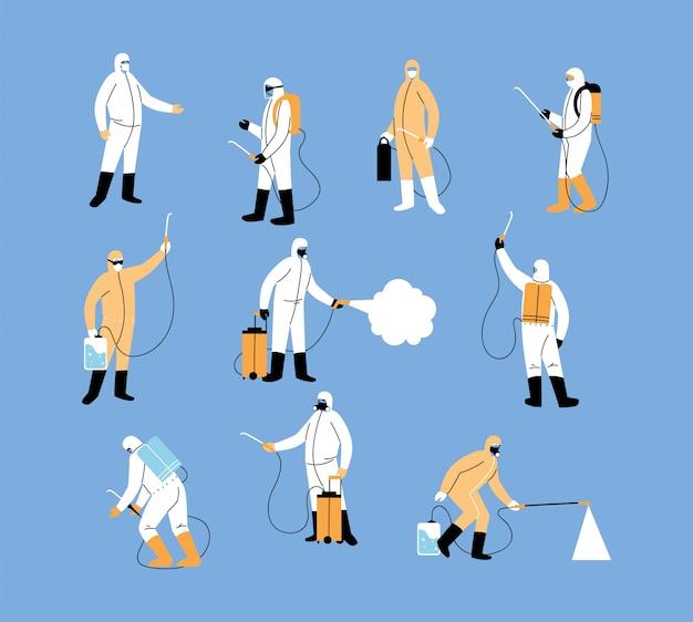 Zespoły robocze noszą ubrania ochronne, dezynfekcję koronawirusem lub covid 19