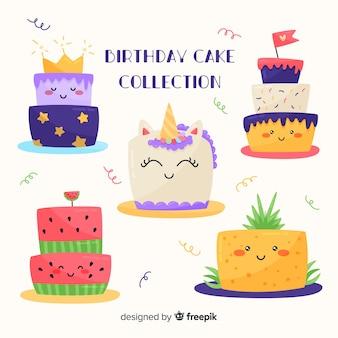 Zestaw ładny tort urodzinowy