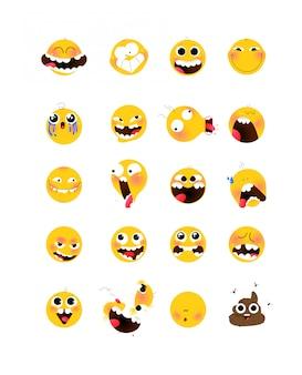 Zestaw żółtych emocjonalnych głów