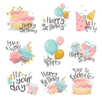 Zestaw życzenia urodzinowe projekt wektor