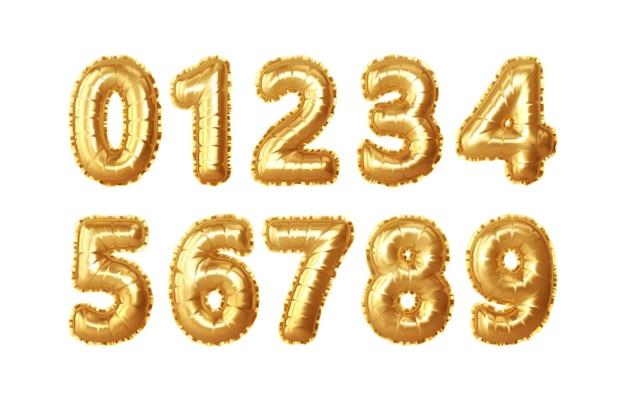 Zestaw 0,1,2,3,4,5,6,7,8,9 numerów balonów ze złotej folii. złote balony realistyczne liczb na rocznicę numeracji, urodziny, nowy rok. ilustracja wektorowa