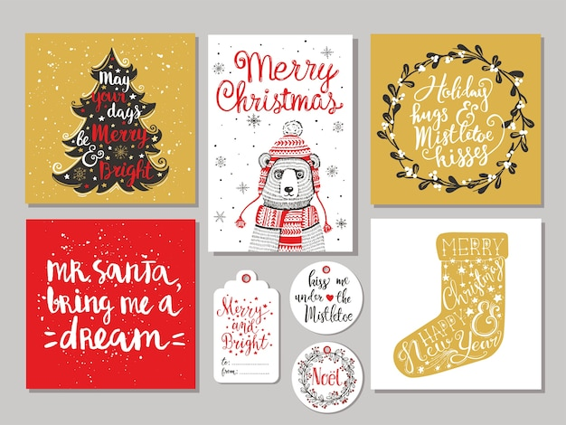 Zestaw 10 kreatywnych świątecznych ręcznie rysowanych tagów prezentowych. kubek gorącej czekolady, świąteczna skarpeta