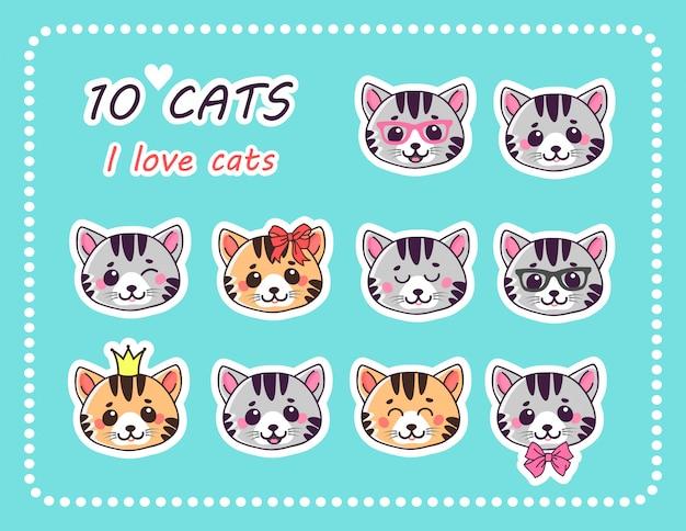 Zestaw 10 naklejek na koty z różnymi emocjami.