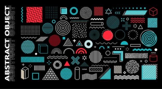 Zestaw 100 geometrycznych kształtów. projekt memphis, elementy retro do sieci, vintage, reklama, baner komercyjny, plakat, ulotka, billboard, sprzedaż. kolekcja modnych kształtów geometrycznych półtonów.