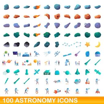 Zestaw 100 ikon astronomii. ilustracja kreskówka 100 ikon astronomii zestaw na białym tle