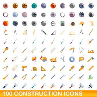 Zestaw 100 ikon budowlanych. ilustracja kreskówka 100 ikon budowlanych ustawionych na białym tle