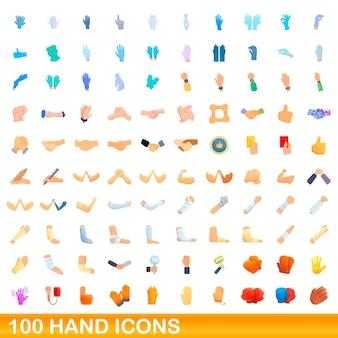 Zestaw 100 ikon dłoni. ilustracja kreskówka 100 ręcznych ikon ustawionych na białym tle
