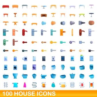Zestaw 100 ikon domu. ilustracja kreskówka 100 ikon domu wektor zestaw na białym tle