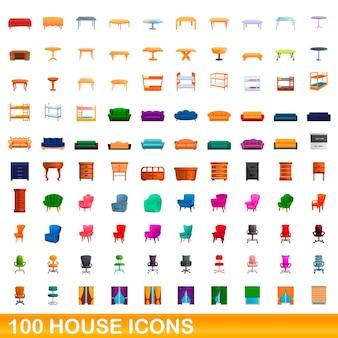 Zestaw 100 ikon domu. ilustracja kreskówka 100 zestaw ikon domu na białym tle