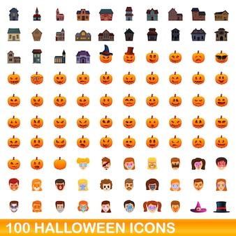 Zestaw 100 ikon halloween. ilustracja kreskówka 100 ikon halloween wektor zestaw na białym tle