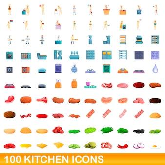 Zestaw 100 ikon kuchni. ilustracja kreskówka 100 ikon kuchennych ustawionych na białym tle