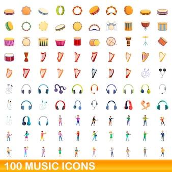 Zestaw 100 ikon muzyki. ilustracja kreskówka 100 ikon muzycznych ustawionych na białym tle