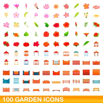 Zestaw 100 ikon ogrodowych. ilustracja kreskówka 100 ikon ogrodowych wektor zestaw na białym tle