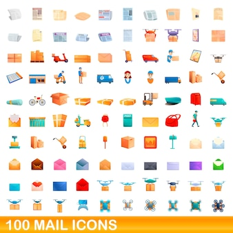 Zestaw 100 ikon poczty. ilustracja kreskówka 100 ikon poczty ustawionych na białym tle