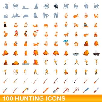 Zestaw 100 ikon polowania. ilustracja kreskówka 100 ikon łowieckich wektor zestaw na białym tle