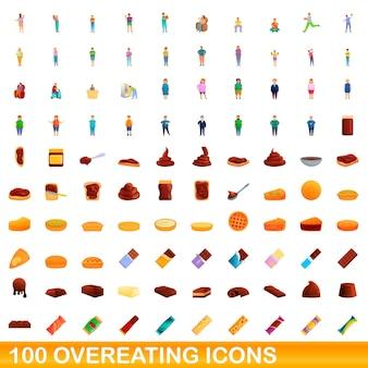 Zestaw 100 ikon przejadania się. ilustracja kreskówka 100 przejadających się ikon ustawionych na białym tle