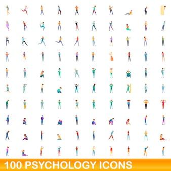Zestaw 100 ikon psychologii. ilustracja kreskówka 100 ikon psychologii zestaw na białym tle