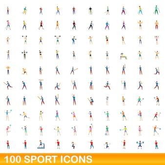 Zestaw 100 ikon sportu. ilustracja kreskówka 100 ikon sportu ustawionych na białym tle