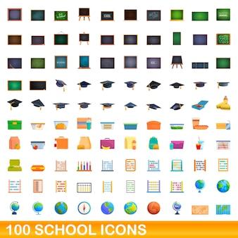 Zestaw 100 ikon szkolnych. ilustracja kreskówka 100 ikon szkolnych ustawionych na białym tle