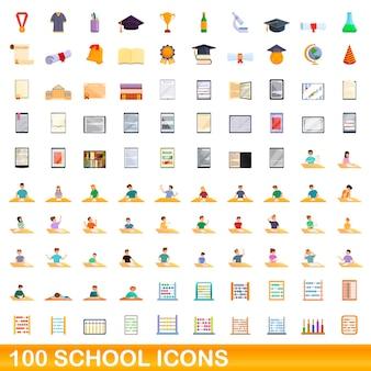 Zestaw 100 ikon szkolnych. ilustracja kreskówka 100 ikon szkolnych wektor zestaw na białym tle