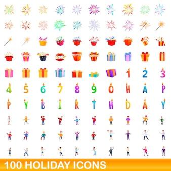 Zestaw 100 ikon wakacje. ilustracja kreskówka 100 wakacyjnych ikon ustawionych na białym tle