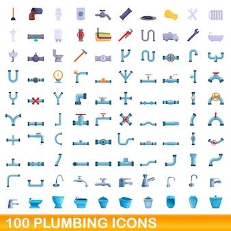 Zestaw 100 ikon wodno-kanalizacyjnych. ilustracja kreskówka 100 zestaw ikon wodno-kanalizacyjnych na białym tle