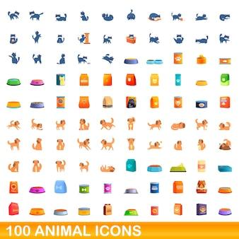 Zestaw 100 ikon zwierząt. ilustracja kreskówka 100 zwierząt ikony wektor zestaw na białym tle