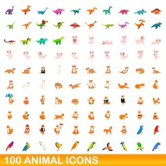 Zestaw 100 ikon zwierząt. ilustracja kreskówka 100 zwierzęcych ikon wektorowych zestaw na białym tle