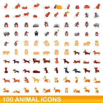 Zestaw 100 ikon zwierząt, styl kreskówki