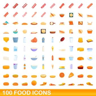 Zestaw 100 ikon żywności. ilustracja kreskówka 100 ikon żywności ustawionych na białym tle