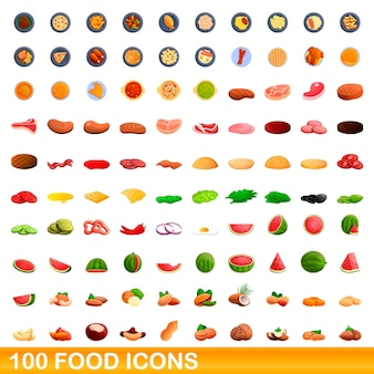 Zestaw 100 ikon żywności. ilustracja kreskówka 100 ikon żywności zestaw na białym tle