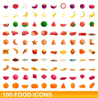 Zestaw 100 ikon żywności, stylu cartoon