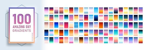 Zestaw 100 niesamowitych gradientów nieba w tle