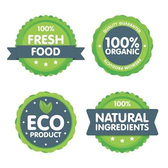 Zestaw 100 procent znaczków świeżej żywności ekologicznej.