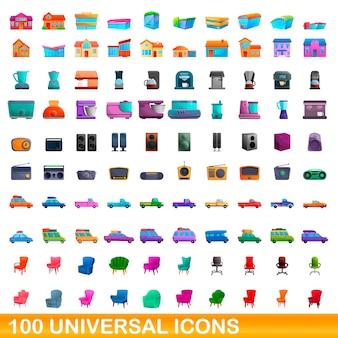 Zestaw 100 uniwersalnych ikon, stylu cartoon