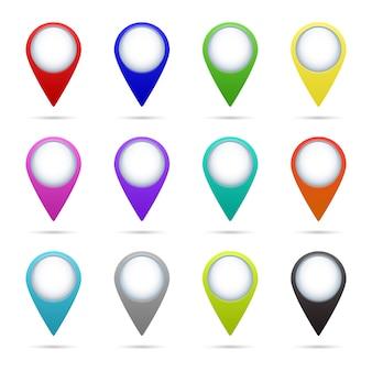 Zestaw 12 ikon wskaźnika mapy.